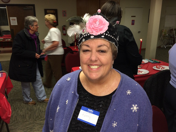 Kathy McGovern, the quilt diva in garb.