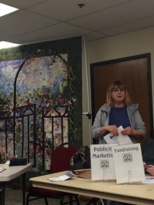 "Our visiting quilt guild, Paradise Quilt Guild brought a beautiful ""watercolor"" type quilt with appliqué."