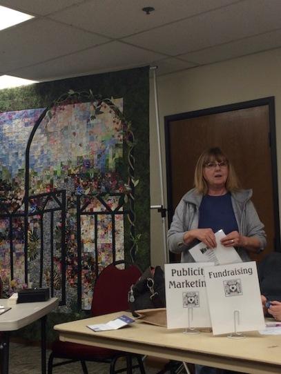 "Our visiting quilt guild, Paradise Quilt Guild brought a beautiful ""watercolor"" type quilt with appliqué."