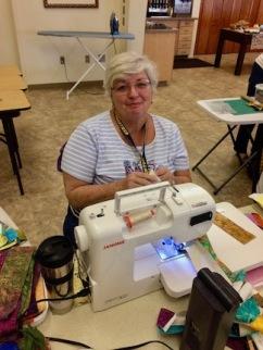 Lynnda starting her project.